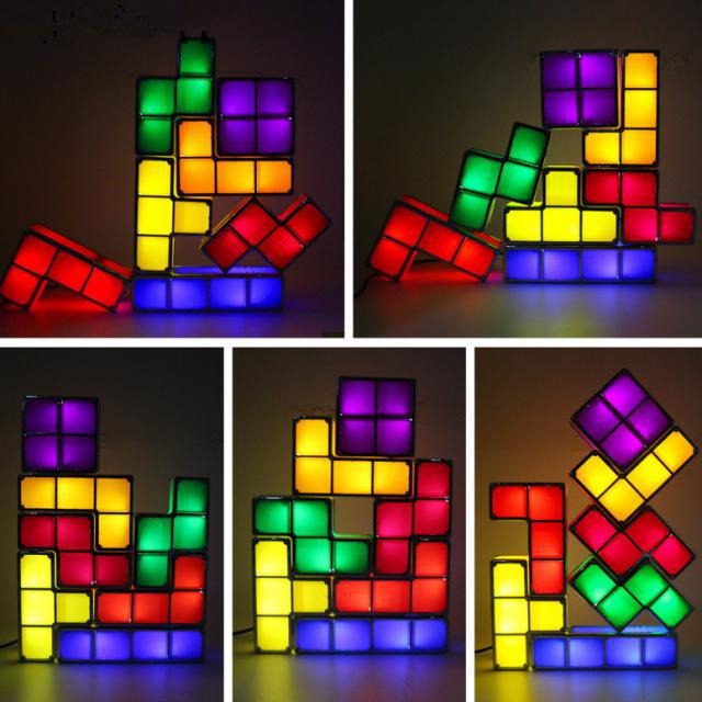 DIY Constructible Retro Game Style Stackable LED Desk Lamp