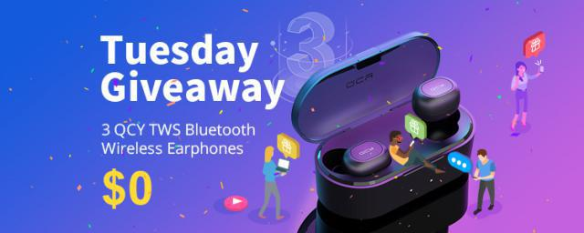 GET IT FREE! 3 Persons Will Win QCY TWS Wireless Earphones, Your Chance Is Here, GO GO GO!