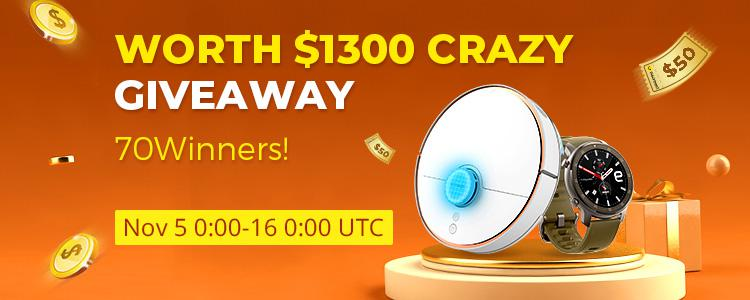 Valued $1,300, The Craziest Giveaway for 2019! $538 Robot Vacuum Cleaner, $50 OFF $99 Coupons! Lucky Draw Every Day!