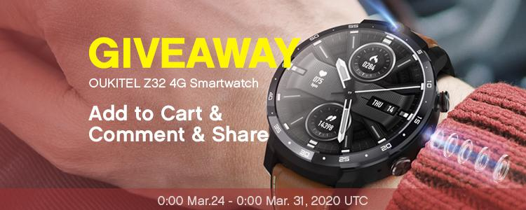 FREE Smartwatch GIVEAWAY: Win a Fancy OUKITE Z32 4G Smartwatch Phone For FREE! Enter Now >>