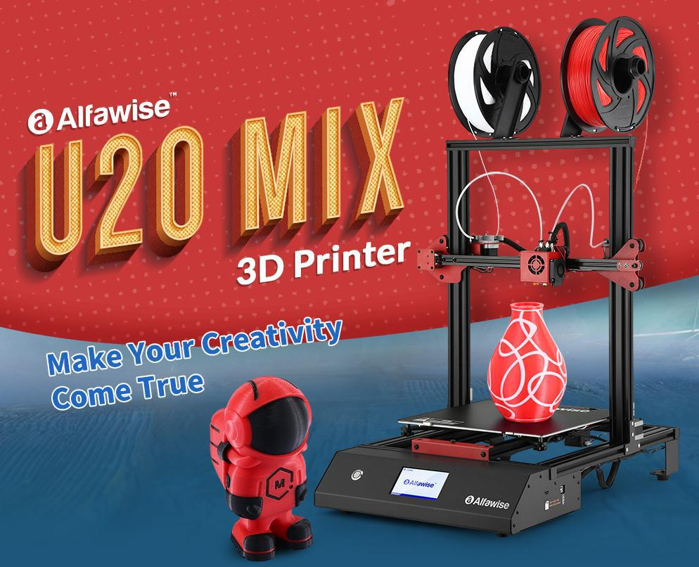 Alfawise U20 Mix Review: Dual-color Printing, Power-on Self-Test, Monitor Print Progress in Real Time.